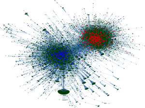 A green, blue, and red visualization of the spread of information online.