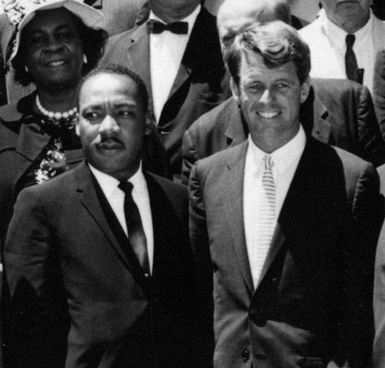 "Martin Luther King Jr. and Robert F. Kennedy meet 22 June 1963 Civil Rights Leaders meet with the Vice President, Attorney General, and other officials. White House. Please credit ""Abbie Rowe, National Park Service/John Fitzgerald Kennedy Library, Boston""."