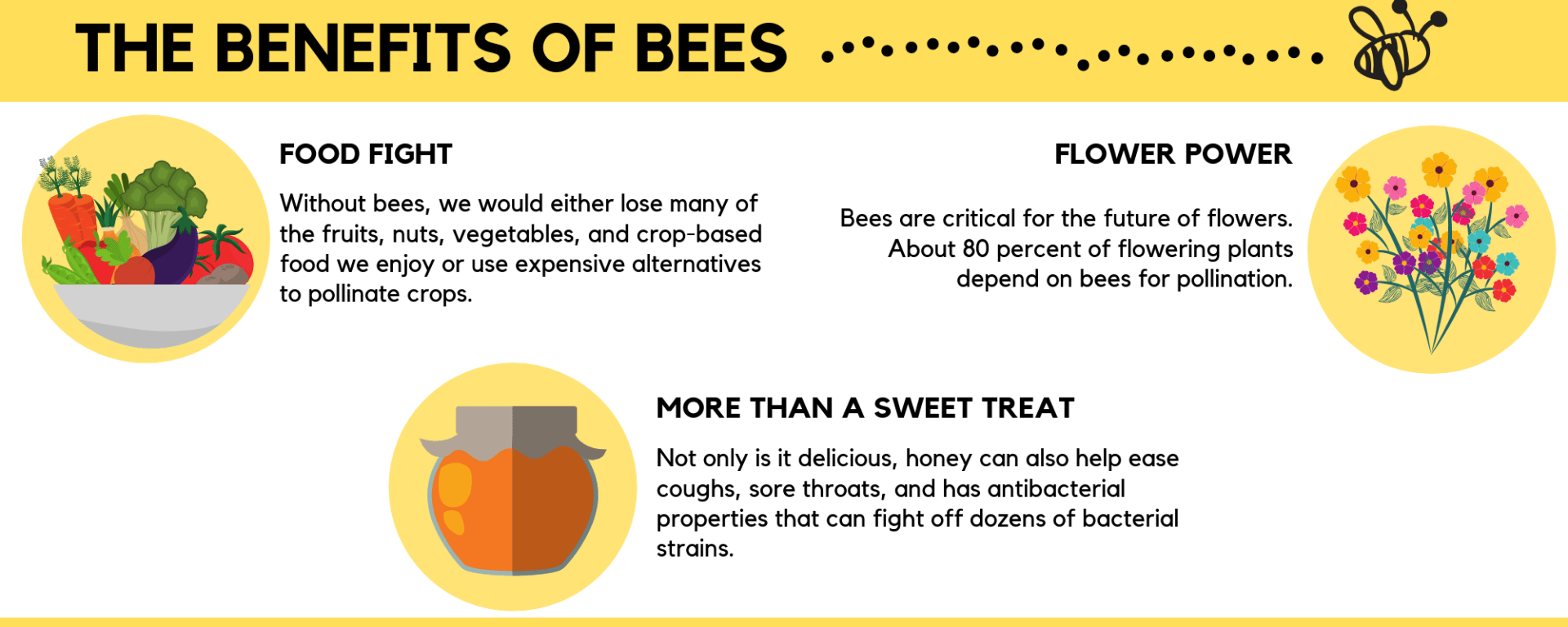 Benefits of Bees: 1) Without bees we would either lose many of the fruits, nuts , vegetables, and crop-based food we enjoy or use expensive alternatives to pollinate crops, 2) Not only is it delicions, honey can also help ease coughs, sore throats, and has antibacterial properties that can fight off dozens of bacterial strains, 3) Bees are critical for the future of flowers. About 80 percent of the flowering plants depend on bees for pollination.