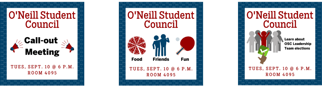 O'Neill Call-out Meeting Tuesday Sept. 10 at 6 p.m.. in BS 4095