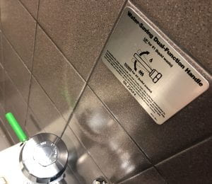 Low flow flushing handle with sign