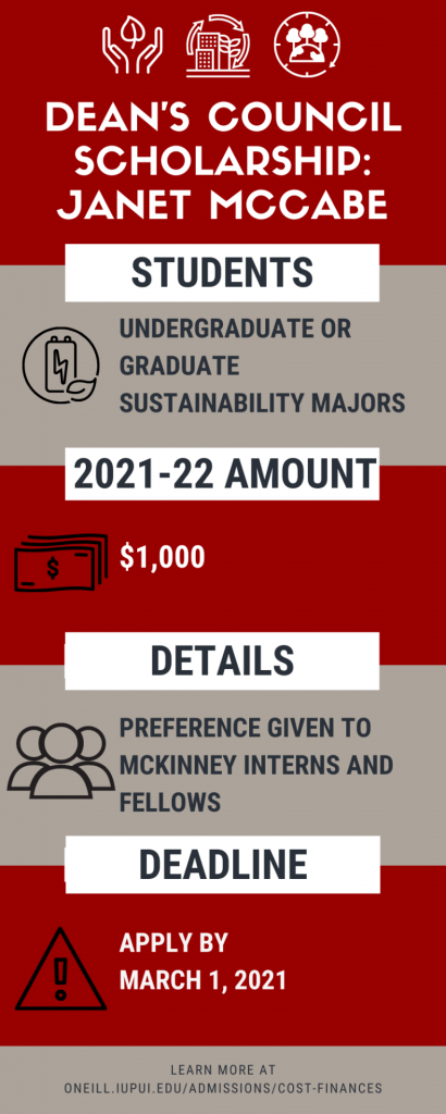 undergrad or grad sustainability students are eligible for $1,000. Preference given to mckinney interns and fellows. apply by march 1, 2021.