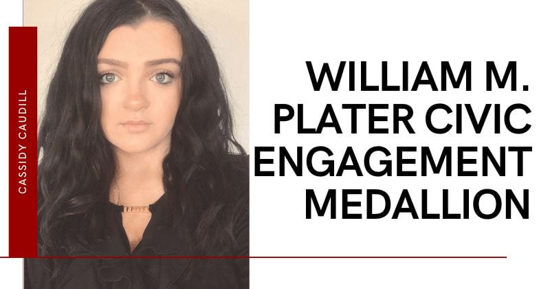woman wearing black shirt with dark hair. Graphic says William M. Plater Civic Engagement Medallion