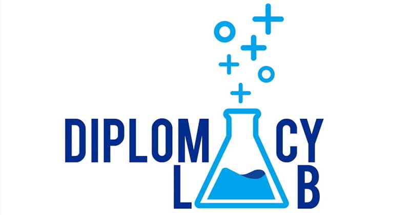 logo that says Diplomacy Lab with a beaker