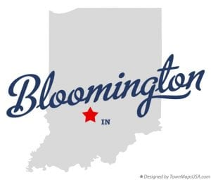 Indiana map with Bloomington starred