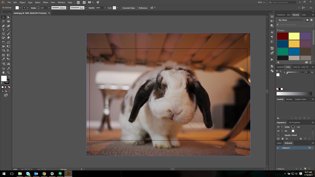 The Illustrator CC 2017 interface, with the rabbit image mentioned previously opened.