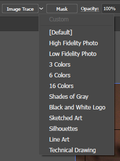 The Image Trace Presets menu in Illustrator.