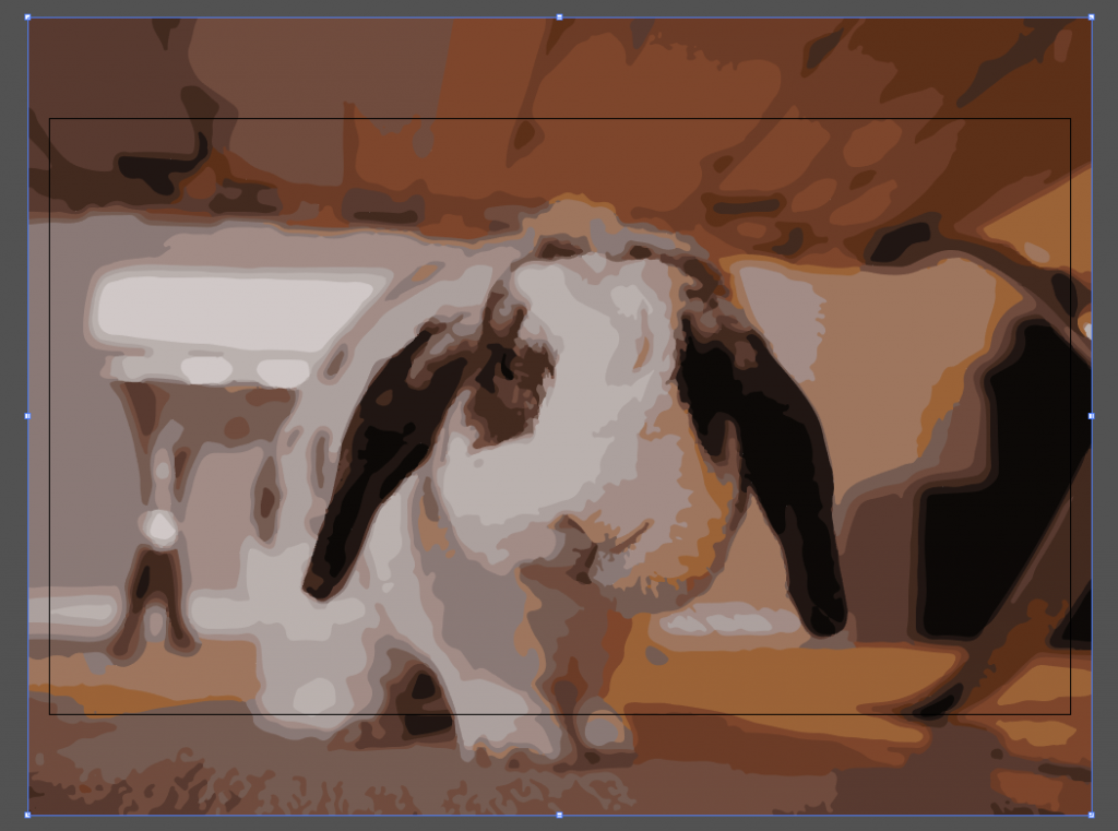 The rabbit image after image trace has been used on it.