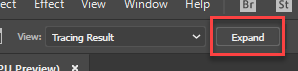 Close-up of the Options bar in Illustrator, with the Expand button highlighted with a red rectangle around it.