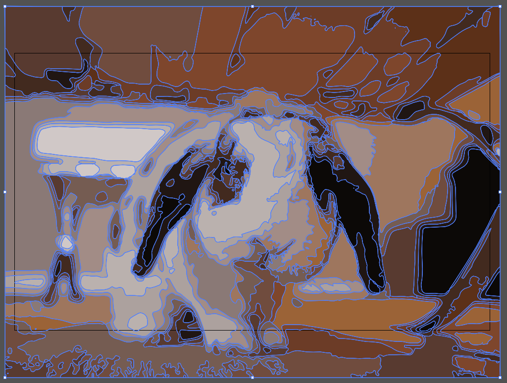 The rabbit image from Illustrator, with blue lines illustrating where paths are in the image.
