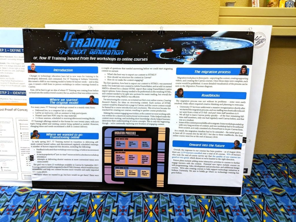 Photograph of a research poster, leaning against a stack of other research posters.
