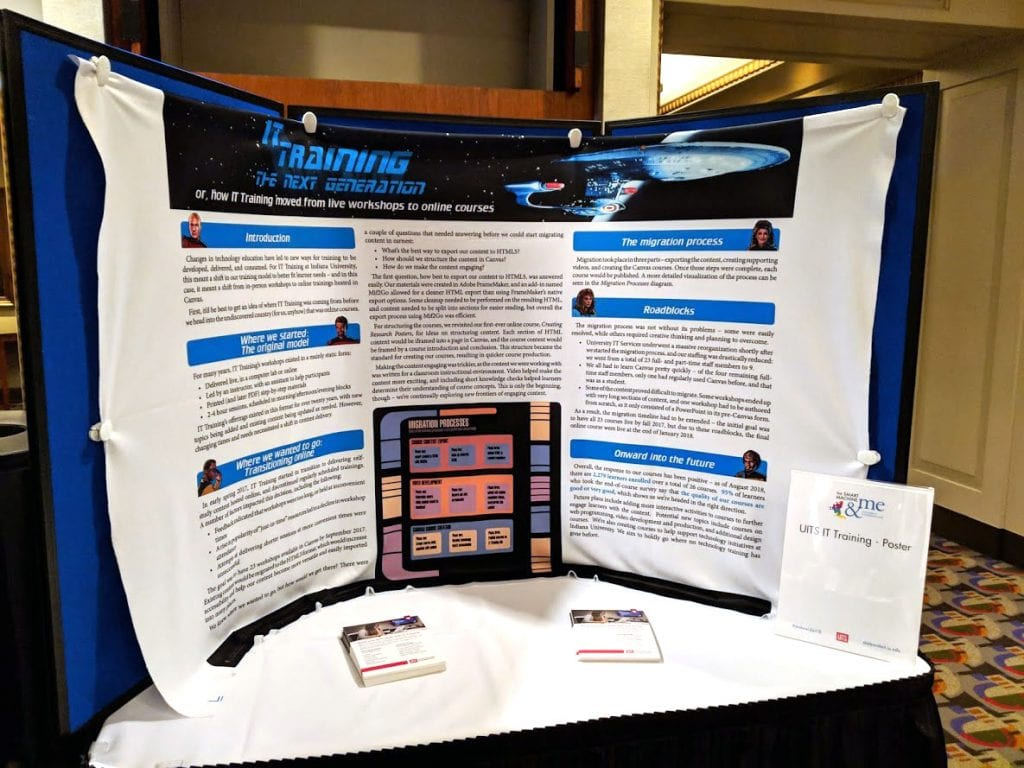 A Star Trek themed poster focusing on IT Training's transition to online courses, tacked to a display board with postcards in front.