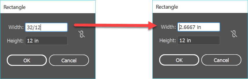 Two instances of the Rectangle shape tool dialog box, one with the value 32/12 inches in the width field, the second with the value 2.667 inches in the width field.
