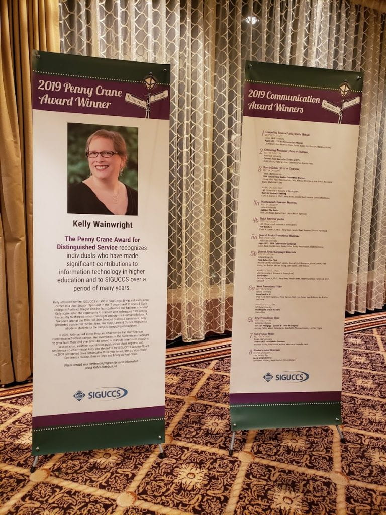 The Penny Crane Award and Communication Award banners I designed for SIGUCCS 2019.