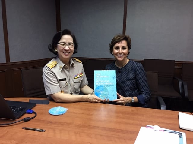 Sue Babich of the Fairbanks School of Public Health with Anchalee Chuthaputti, Purdue pharmacy alum and director of the Technical and Planning Division in the Department of Thai Traditional and Alternative Medicine at the Ministry of Public Health in Bangkok Thailand