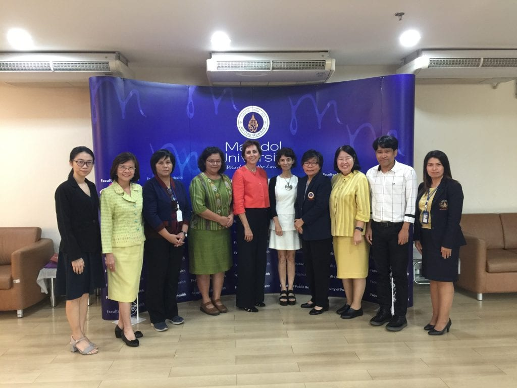 Sue Babich of the Fairbanks School of Public Health and Rita Koryan of the Office of the Vice President for International Affairs with colleagues from Mahidol University, October 10, 2018