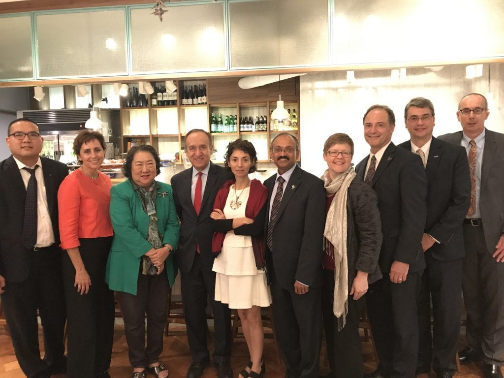 IUPUI delegation with IU honorary degree recipient and educational and civic leader in Thailand Dr. Juree Vichit-Vadakan at hip and happening restaurant Roast in Bangkok, October 10, 2018