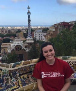 MHeald - Sitting on bench at Parc Guell in T shirt