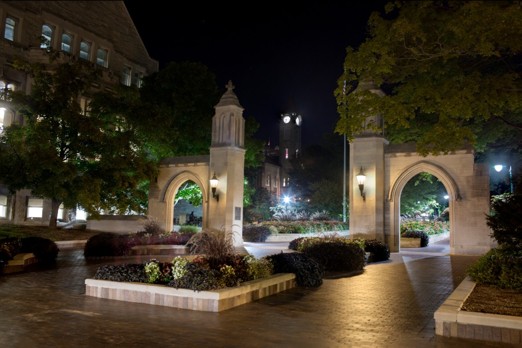 The Sample Gates are pictured after dark on Wednesday, Sept. 21, 2016, on the Indiana University Bloomington campus.