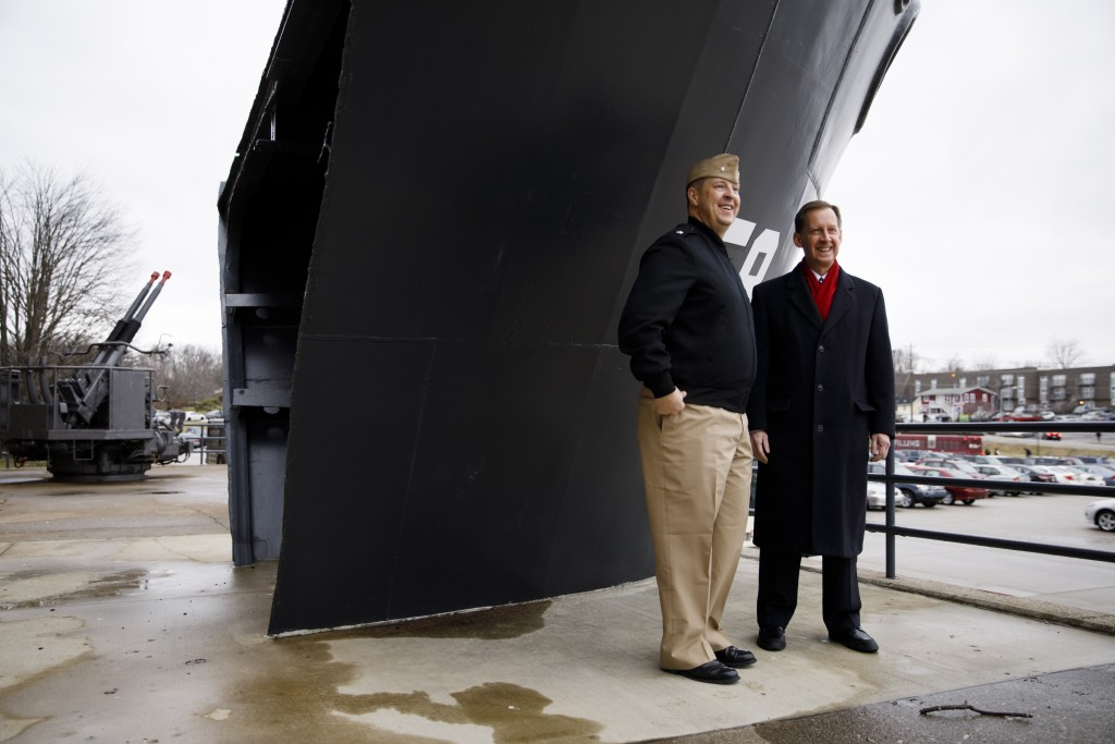 Indiana University Assistant Vice President for Strategic Partnerships Kirk White, right, gives USS Indiana (SSN-789) Commander Jesse J. Zimbauer a tour of the prow of the USS Indiana (BB-58), a WWII-era battleship, at Memorial Stadium at Indiana University Bloomington on Tuesday, Jan. 10, 2017. The USS Indiana (SSN-789) is a Virginia-class submarine expected to be christened in April and commissioned sometime in 2018.