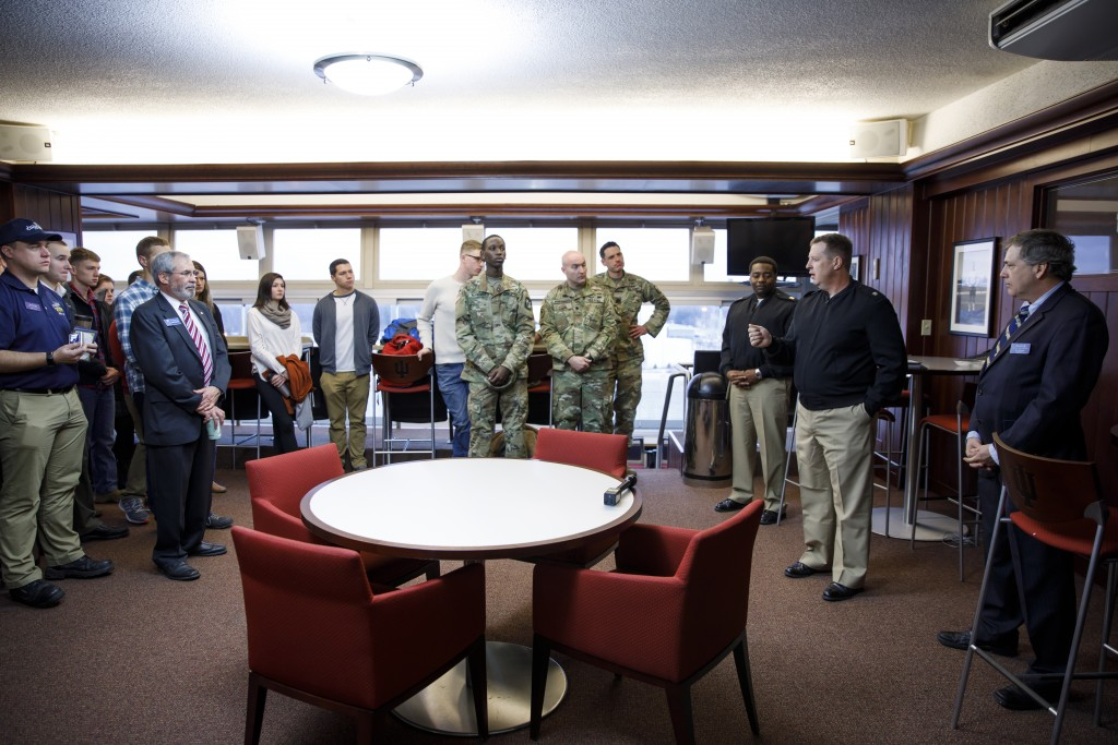 USS Indiana (SSN-789) commander Jesse J. Zimbauer speaks during a reception for visitors representing the submarine at Memorial Stadium at Indiana University Bloomington on Tuesday, Jan. 10, 2017. The USS Indiana (SSN-789) is a Virginia-class submarine expected to be christened in April and commissioned sometime in 2018.