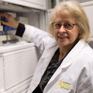 Bonnie Blazer-Yost works in her laboratory at Indiana University Purdue University-Indianapolis