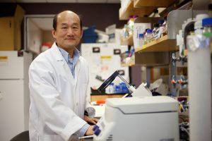Cheng Kao, a professor in the IU Bloomington College of Arts and Sciences' Department of Molecular and Cellular Biochemistry, works on equipment in his IU laboratory.