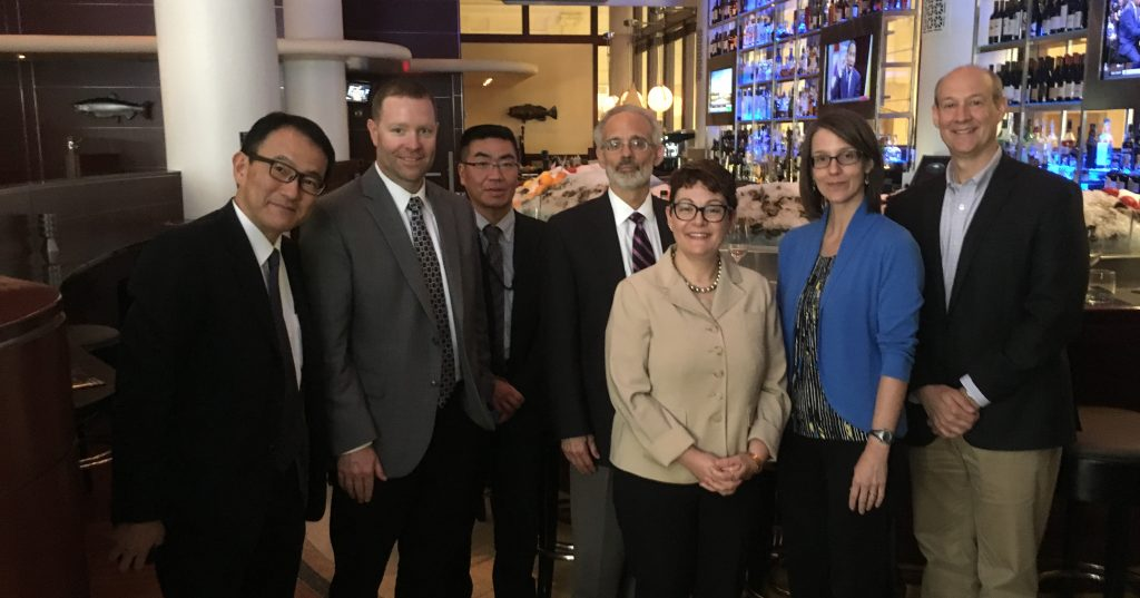From left: Jun Arakawa, Kirin; Dave Wilhite, IURTC; Yoshihiro Furuya, Kirin; Michael Econs, IU School of Medicine; Marie Kerbeshian, IURTC; Rebecca Lyon, IURTC; and Ken White, IU School of Medicine