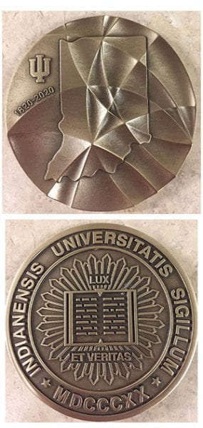 IU Bicentennial medal, front and back