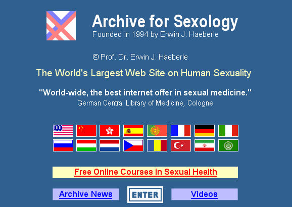 Screenshot of home page of SexArchive.info