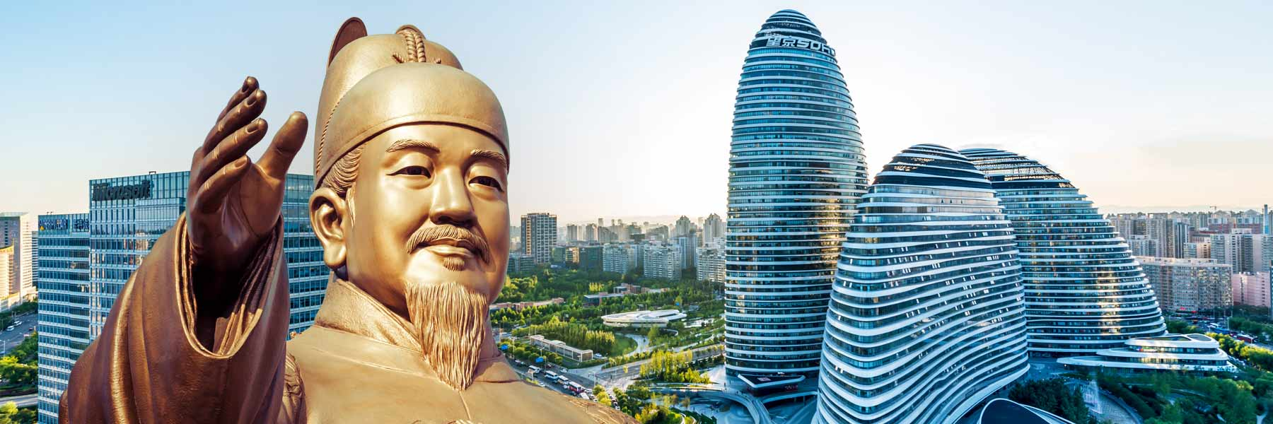The Beijing skyline and a statue of Sejong the Great, creator of the Korean alphabet, in Seoul.