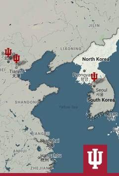 Map of the president's trip to Korea and China