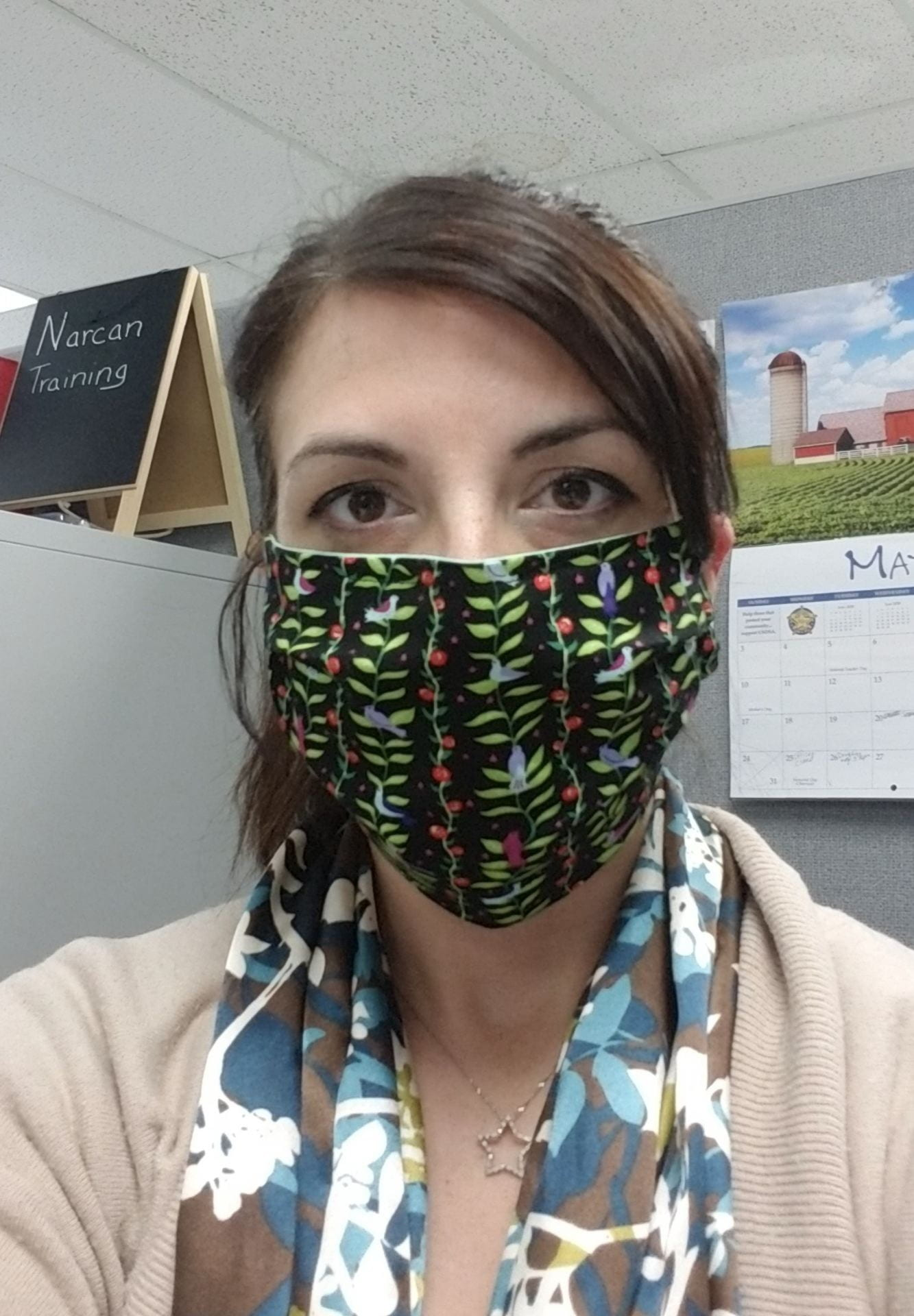 Jennie Cauthern Wears Face Mask in Office