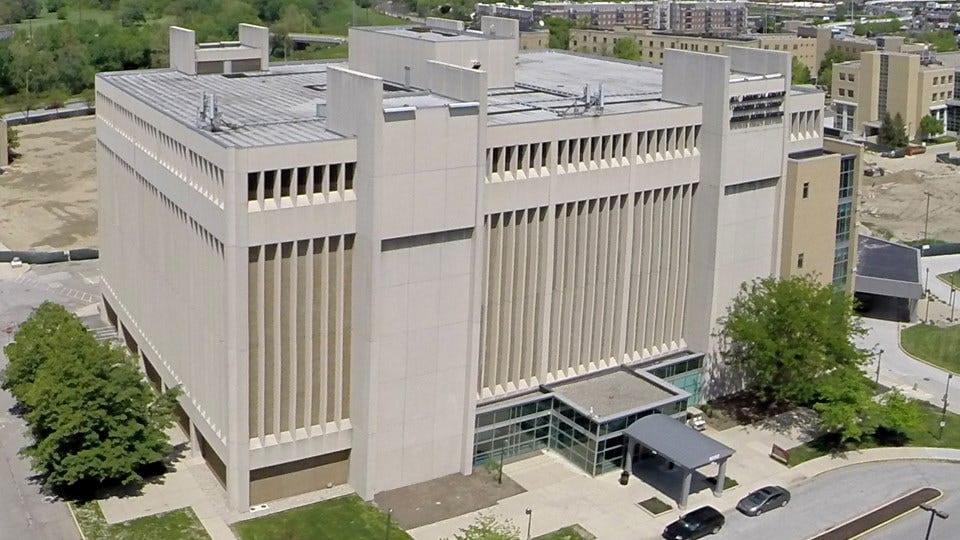 Sky view of the Health Sciences Building at IUPUI, which is home to the Fairbanks School of Public Health.