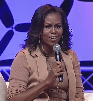Michelle Obama speaks to the sold-out crowd at Bankers Life Fieldhouse.