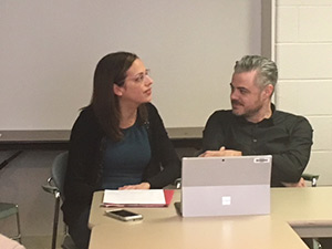 Scott Harrison and Genevieve Shaker discuss celebrity philanthropy for her class.