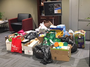 Students in the Giving and Volunteering in America class gathered donations for Hurricane Harvey relief efforts.