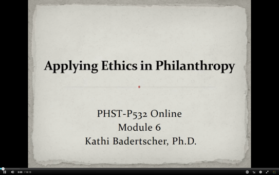 Applying Ethics in Philanthropy
