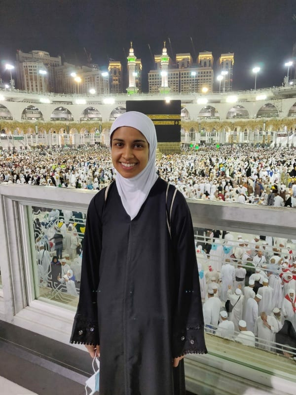 Rafia Khader after the farewell tawaf (Islamic right of pilgrimage)