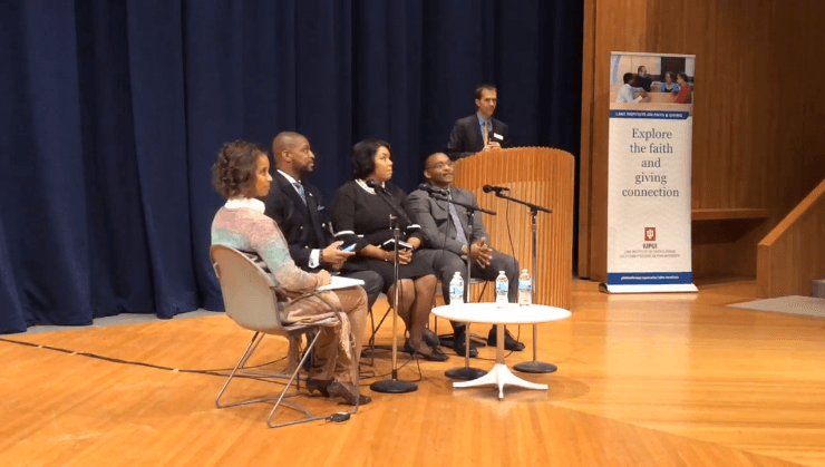 Moderator Dr. Leah Gunning Francis and panelists Revered Starsky Wilson, Ms. Aimee Laramore, and Dr. Brad Braxton are introduced by Dr. David King