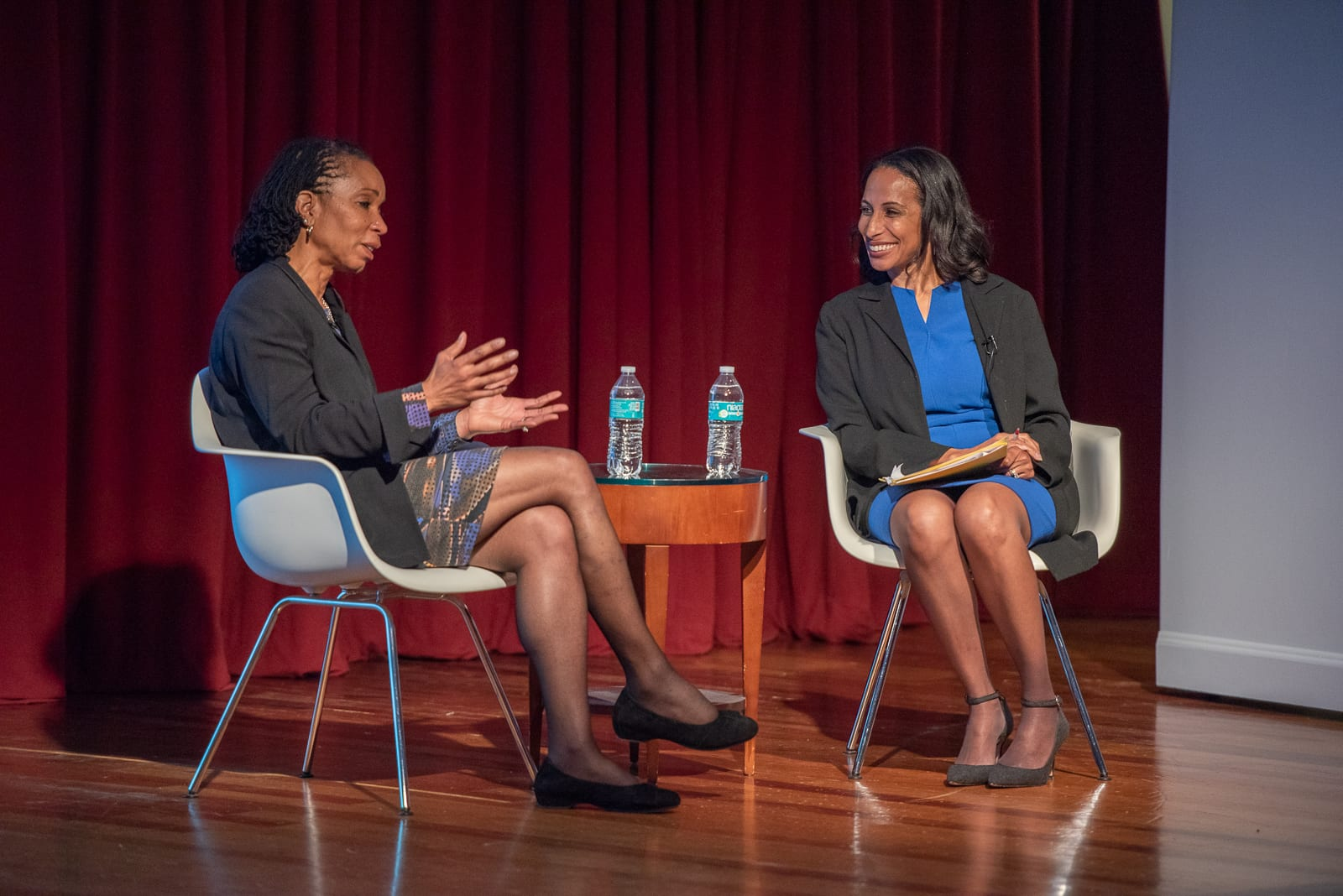 Dr. Helene Gayle, pictured with Dr. Una Osili, kicked off the Diverse Speaker Series