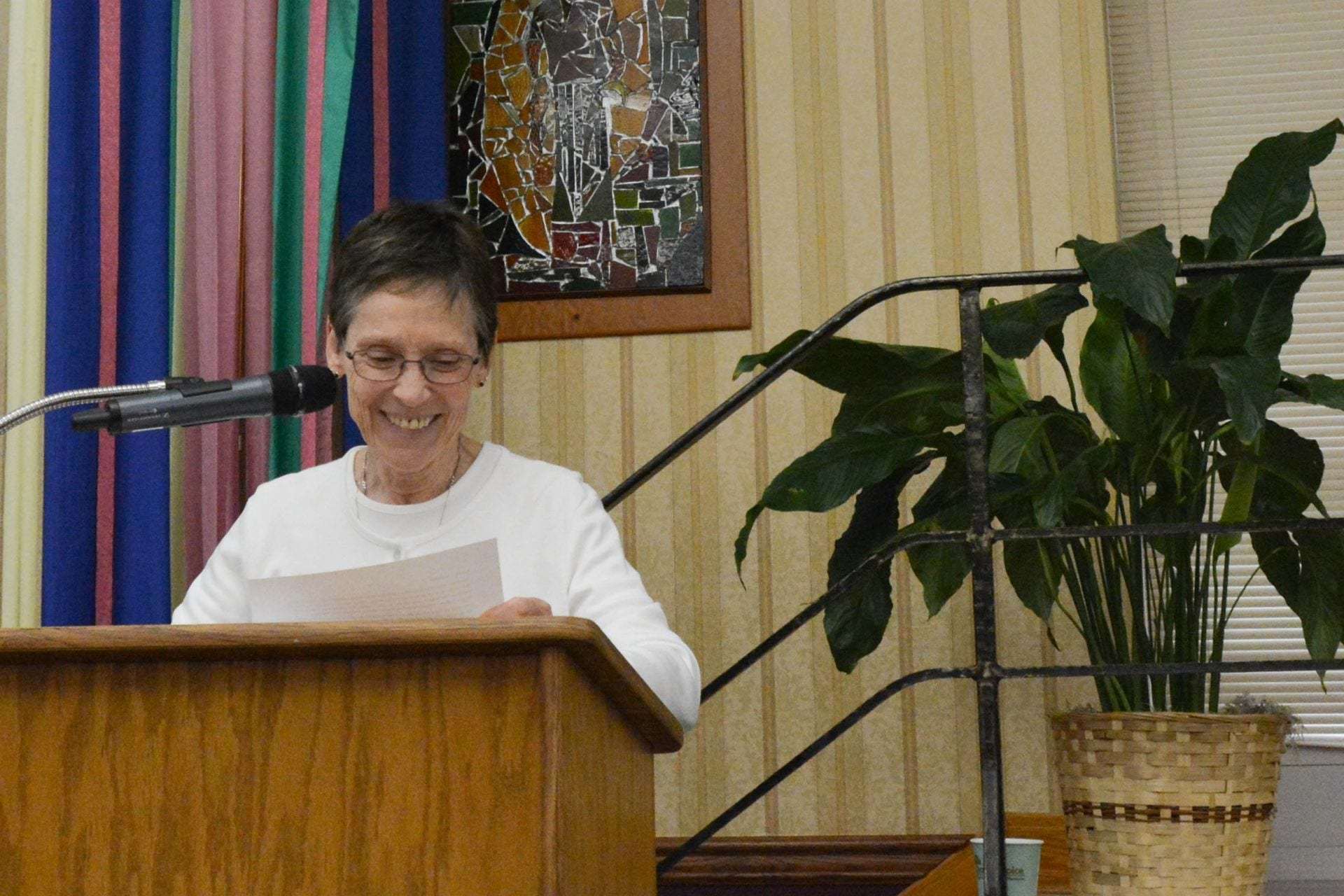 Sister Sharon Costello addresses members of the congregation during their five-year Chapter gathering this past summer.