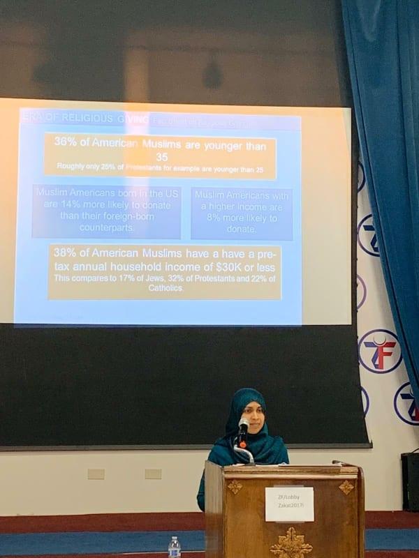 Rafia Khader presenting at the Zakat Foundation ECRF.