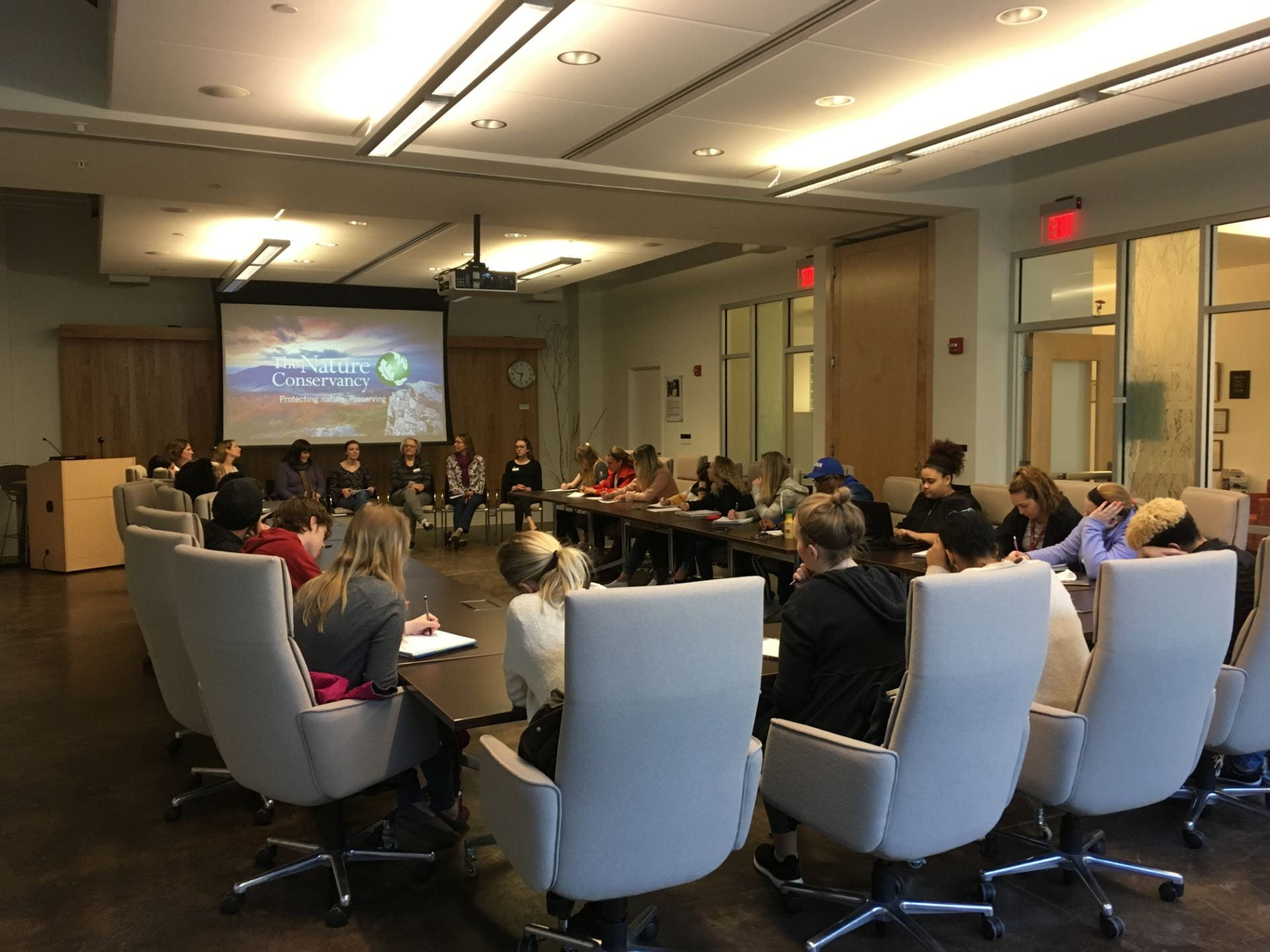 Students and panel at The Nature Conservancy.