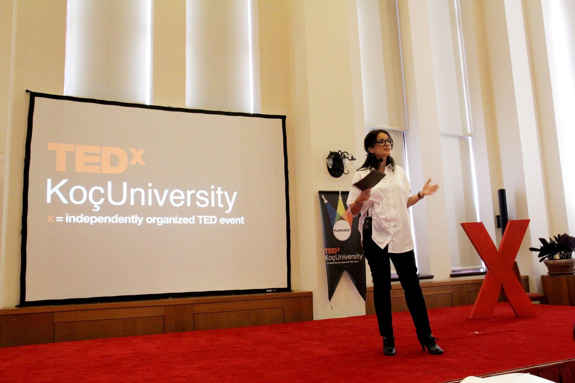 Sevda Kilicalp speaking at a TEDx event.