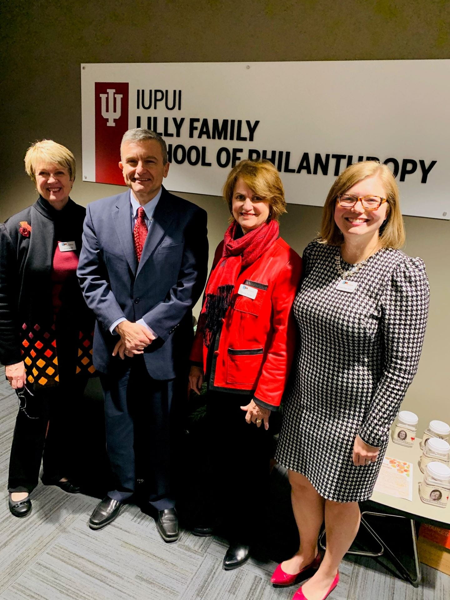 Debra Jacobs, Amir Pasic, Laury Stryker, and Hannah Saeger Karnei at the Lilly Family School of Philanthropy.