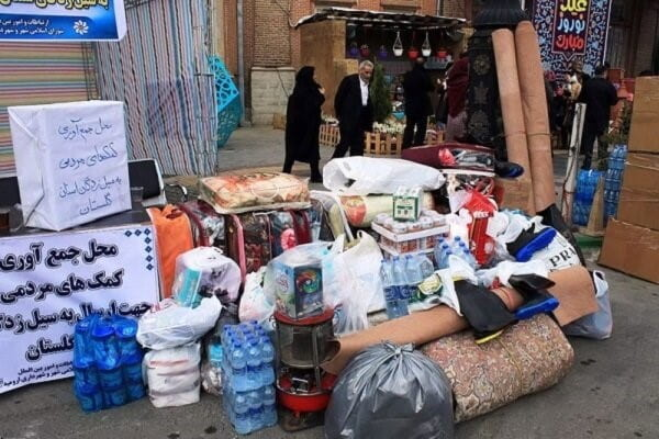 People's in-kind donations to support those affected by the flood in Sistan Balouchistan province in January 2020.