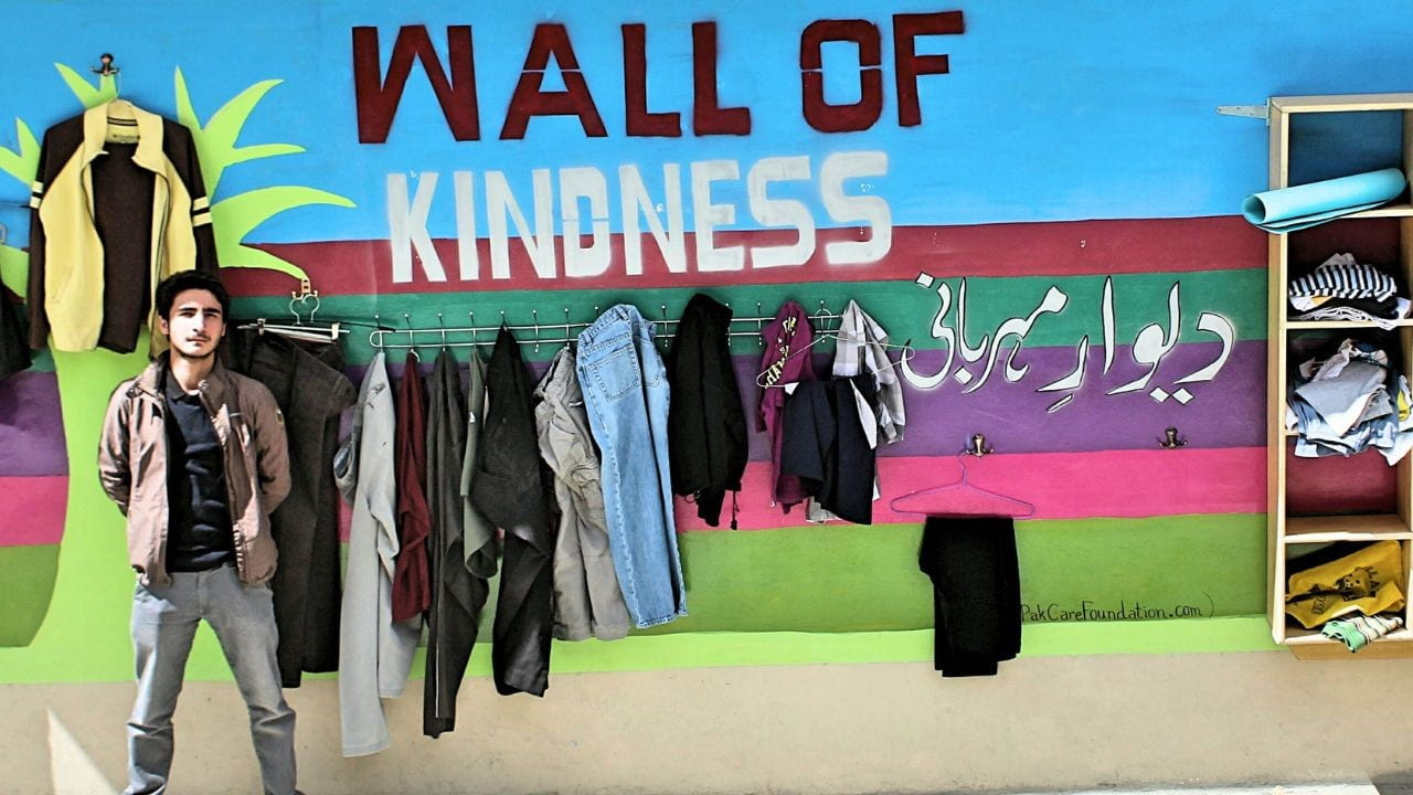 An example of Wall of Kindness in Iran: The idea was first introduced anonymously in Mashad province of Iran in support of homeless people. The motto of the wall is: Leave if You Don't need it, Take if You Need it. However, thanks to social media, the idea spread throughout the country and also included bookshelves in some cases to support poor children's education.