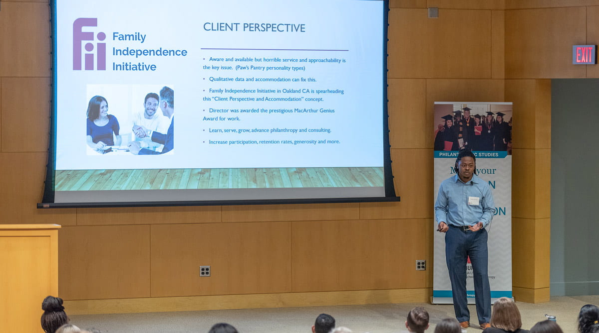 David Johnson presents during the student competition in Fall 2019.