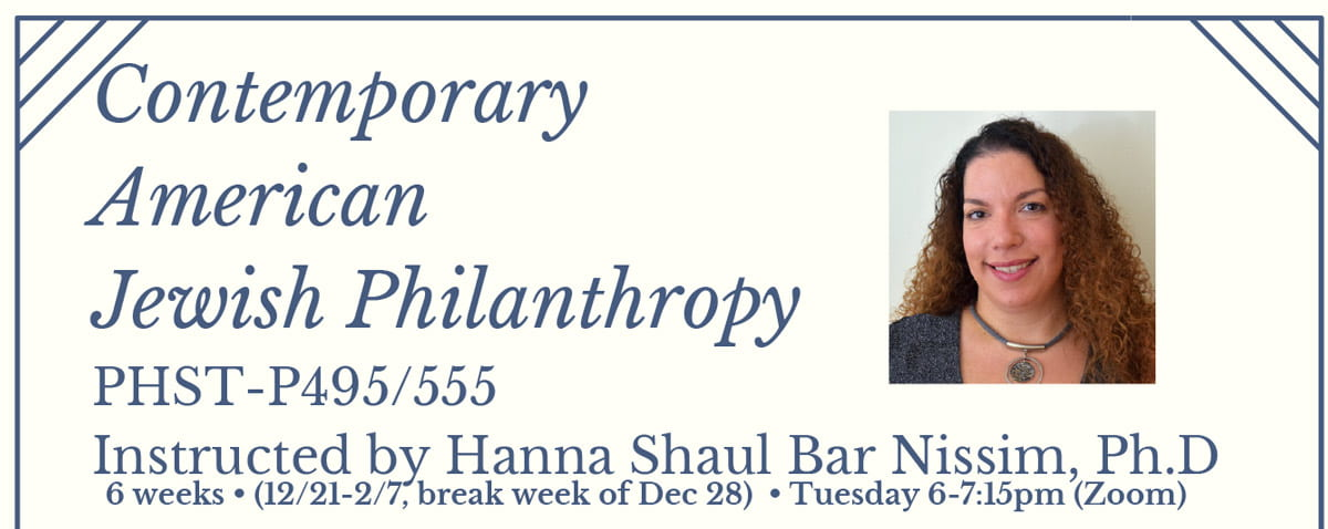 contemporary American Jewish Philanthropy course